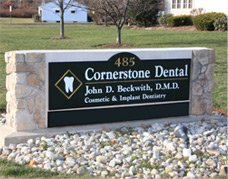 Welcoming sign for patients visiting the Cornerstone Dental office.