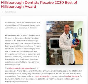 Cornerstone Dental is honored with the 2020 Best of Hillsborough Award in the category of Dentistry.
